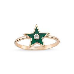 - Enamel Yeşil Mine Pırlanta Yıldız Yüzük