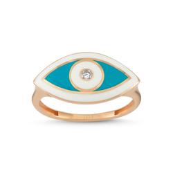 - Eyeful Beyaz Mavi Mine Pırlanta Yüzük Rose