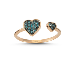 - Heartbeat İki Kalp Mavi Pırlanta Yüzük