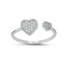 - Heartbeat İki Kalp Pırlanta Yüzük