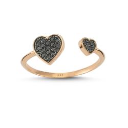 - Heartbeat İki Kalp Siyah Pırlanta Yüzük