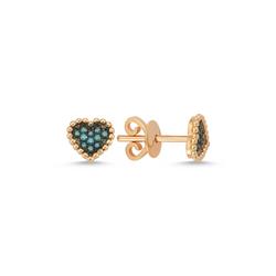 - Heartbeat Mavi Pırlanta Küpe