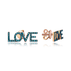 - Love Mavi Pırlanta Küpe